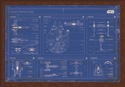 Framed Framed Rebel Alliance Fleet Blueprint - Star Wars