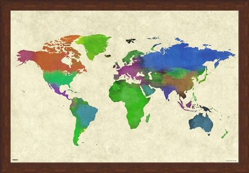 Framed Framed Colourful Continents - World Map Watercolor