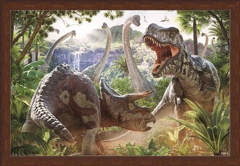 Framed Framed Dinosaur Battle - David Penfound