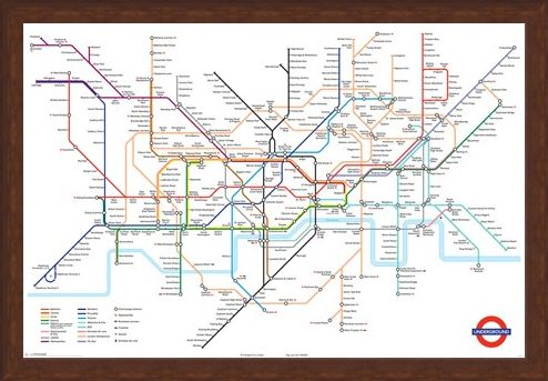 Framed Framed London Underground Map - London Underground