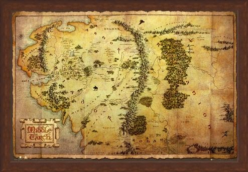 Framed Framed Map of Middle Earth - The Hobbit
