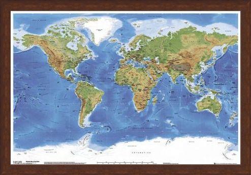 Framed Framed Planetary Visions - Map of the Earth