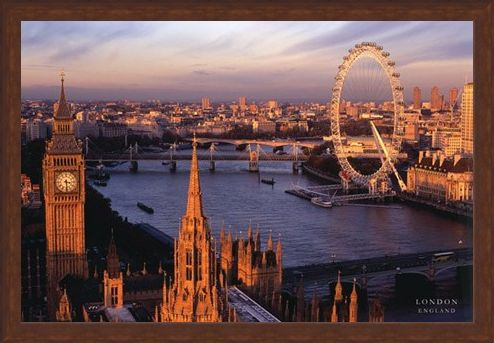 Framed Framed Big Ben and the London Eye - Aerial Photograph of London, England