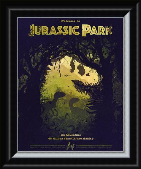 Framed Framed Dino Silhouette - Jurassic Park