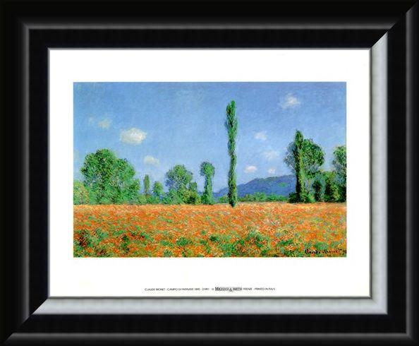 Framed Framed Campo Di Papaveri 1890 - Claude Monet