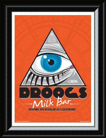 Framed Framed Droogs Milk Bar Mini Poster - Inspired By Clockwork Orange