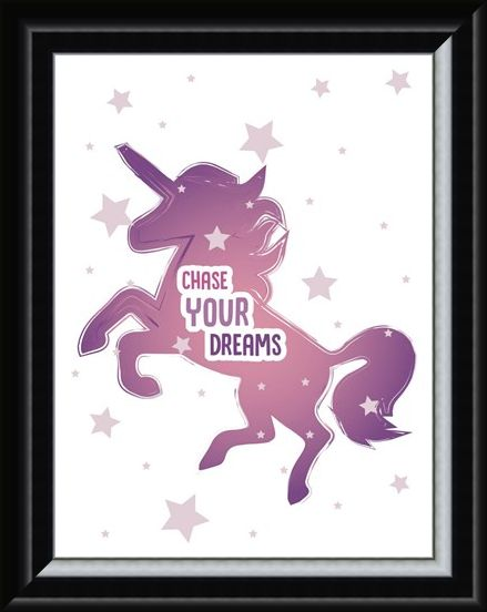 Framed Framed Chase Your Dreams - Motivational Unicorn