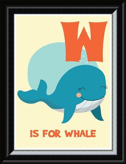 Framed Framed W Is For Whale - Learning By Pictures