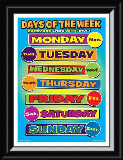 Framed Framed Days Of Week - Seven Days of Learning
