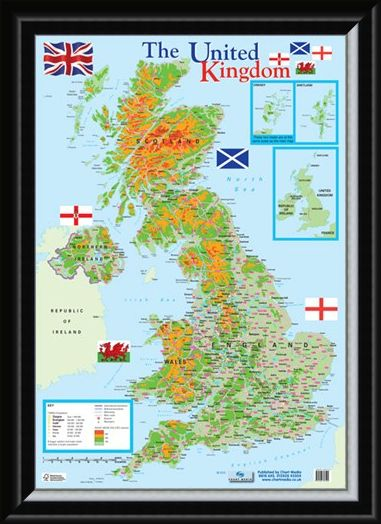 Framed Framed Map of The United Kingdom - Educational Map