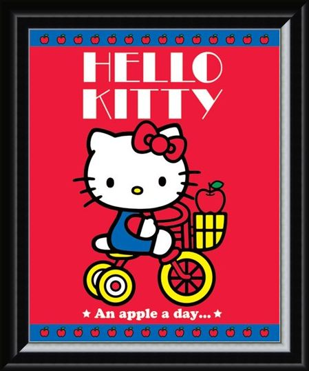 Framed Framed Hello Kitty - An Apple A Day
