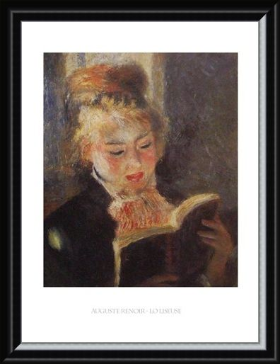 Framed Framed Reading - Auguste Renoir