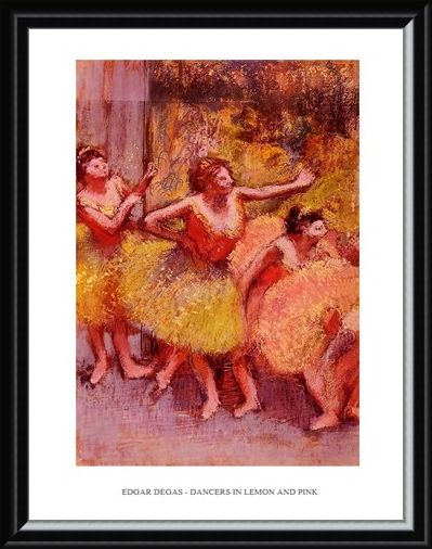 Framed Framed Dancers in Lemon & Pink - Edgar Degas