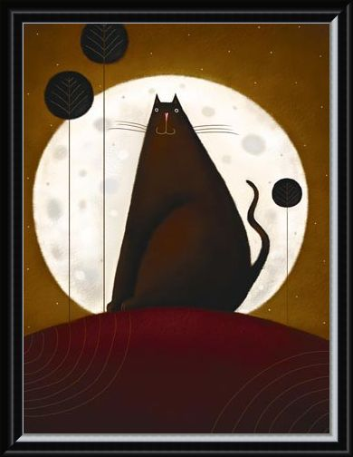 Framed Framed Cat and the Moon - Jo Parry