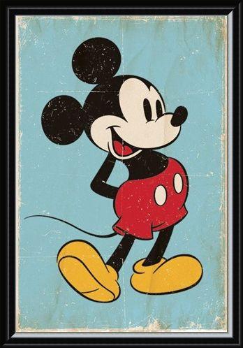 Framed Framed Retro Mickey Mouse - Walt Disney