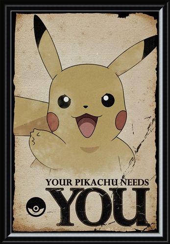 Framed Framed Pikachu Needs You - Pokemon