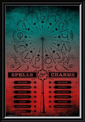 Framed Framed Spells And Charms - Harry Potter
