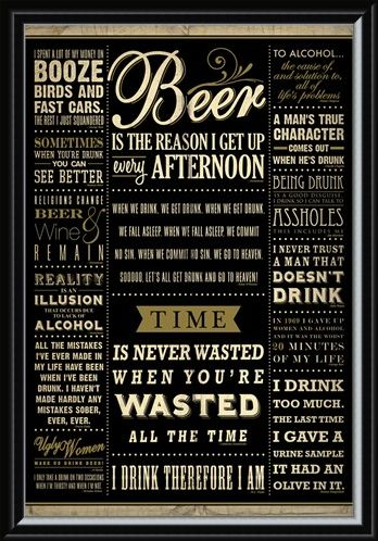 Framed Framed Drinking Quotes - Words Of Wisdom
