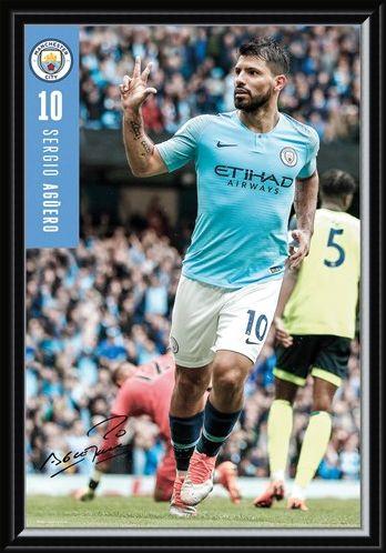Framed Framed Aguero 18-19 - Manchester City