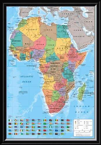 Framed Framed Map Of Africa - Colourful Continent