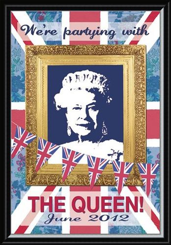 Framed Framed We're Partying with The Queen - Martin Wiscombe