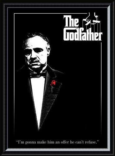 Framed Framed Don Vito Corleone with a Red Rose - The Godfather