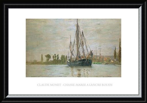 Framed Framed Chasse-Maree a L'ancre Rouen - Claude Monet