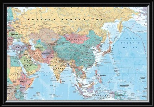 Framed Framed Asia & The Middle East - Political Map