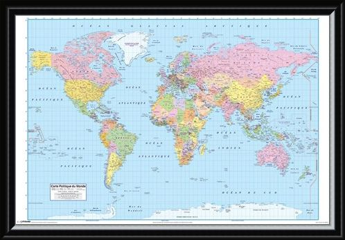 Framed Framed French World Map - Carte Politique du Monde