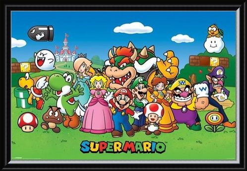 Framed Framed Super Mario Collage - Mushroom Kingdom