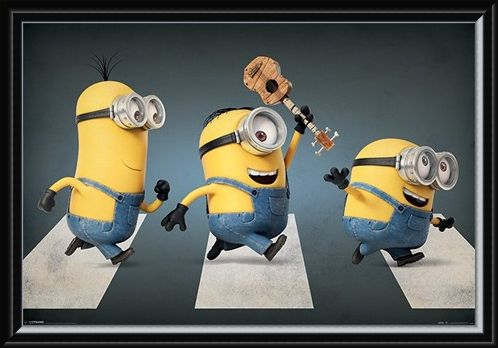 Framed Framed Minions Abbey Road - Stuart, Kevin and Bob