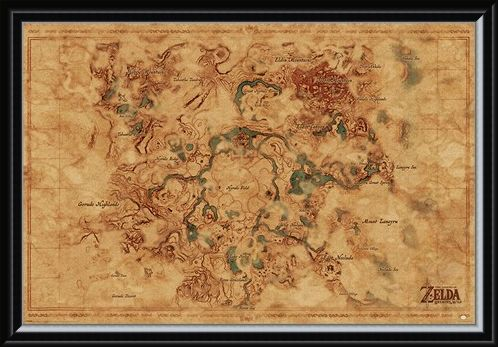 Framed Framed Breath Of The Wild Hyrule World Map - The Legend Of Zelda