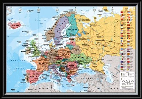 Framed Framed European Map With Flags - Countries in Colour