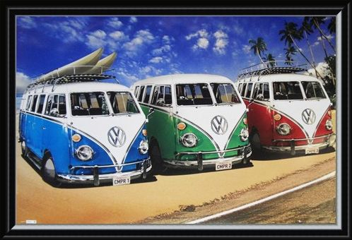 Framed Framed Camper Van Trio On The Shoreline - Volkswagens On The Beach