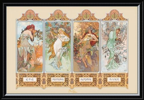 Framed Framed Seasons, 1896 - By Alphonse Marie Mucha