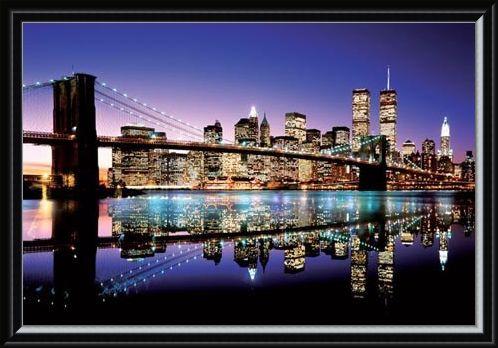 Framed Framed Twilight Technicolor - Brooklyn Bridge