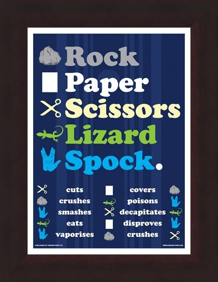 Framed Framed Rock Paper Scissors Lizard Spock Mini Poster - Inspired By The Big Bang Theory