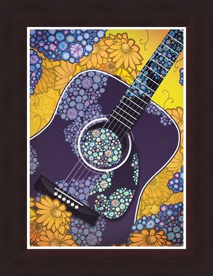 Framed Framed Psychedelic Sounds - Blue Floral Guitar