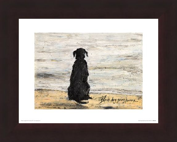 Framed Framed Black Dog Going Home - Sam Toft