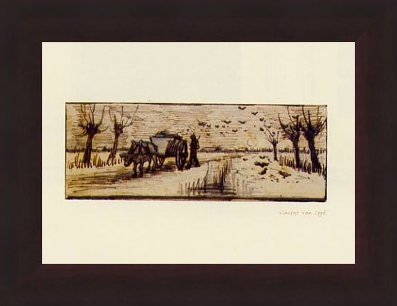 Framed Framed Ox Cart in the Snow - Vincent Van Gogh