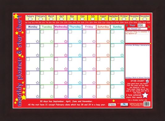 Framed Framed Monthly Planner and Star Chart - Children's Planner