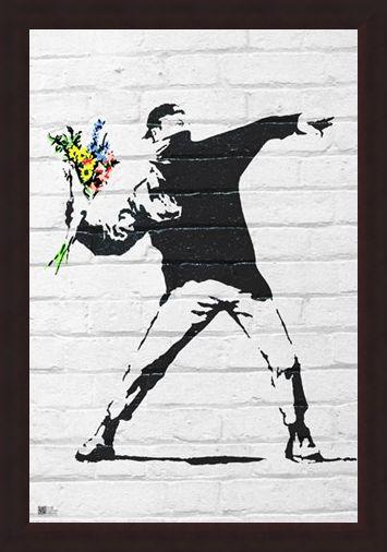 Framed Framed Flower Bomber - Banksy