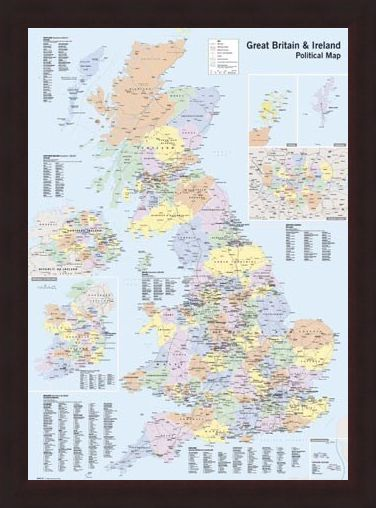Map Of Ireland Poster.Uk Ireland Political Map Poster Buy Online