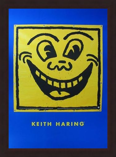Framed Framed Untitled (Happy Face) - Keith Haring