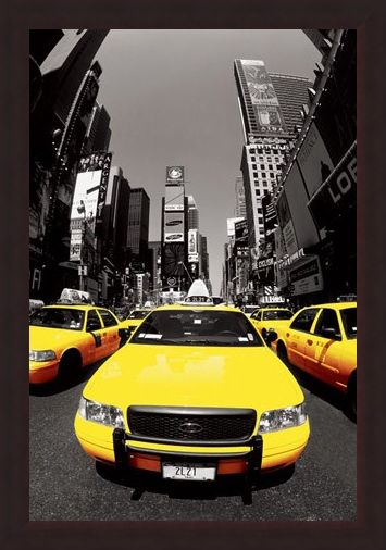 Framed Framed Yellow Cabs - New York City