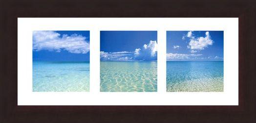Framed Framed Tropical Infinity Triptych - Beach Photography