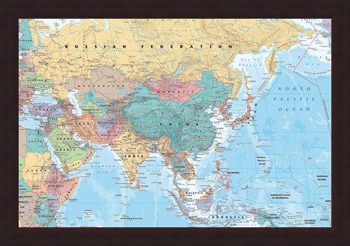 Framed Framed Asia & The Middle East - Political Map