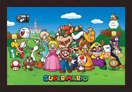 Framed Framed Super Mario Collage - Mushroom Kingdom