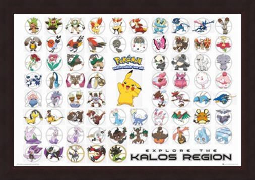 Framed Framed Pokemon Kalos Region - Gotta Catch Them All