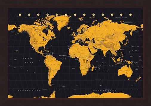 Framed Framed Black And Gold - World Map